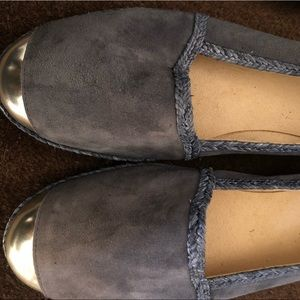 Stuart Weitzman suede with silver tip flats
